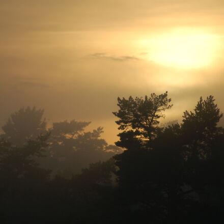 clouds, fog, mist, sunset, Nikon D50