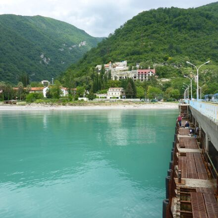 sea, mountains, bridge, Panasonic DMC-FT5