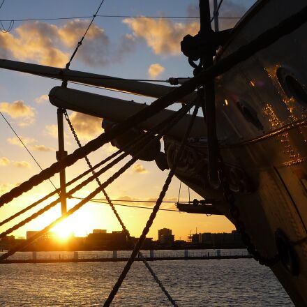 amsterdam, ship, sunset, Panasonic DMC-FS3