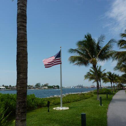 american flag, seaside, park, Panasonic DMC-TZ6