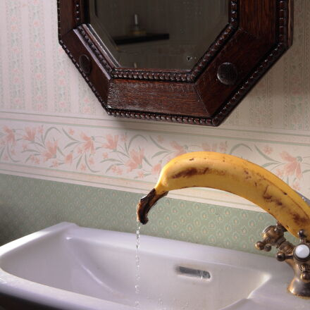 banana, brown, faucet, mirror, Canon EOS 5D MARK II