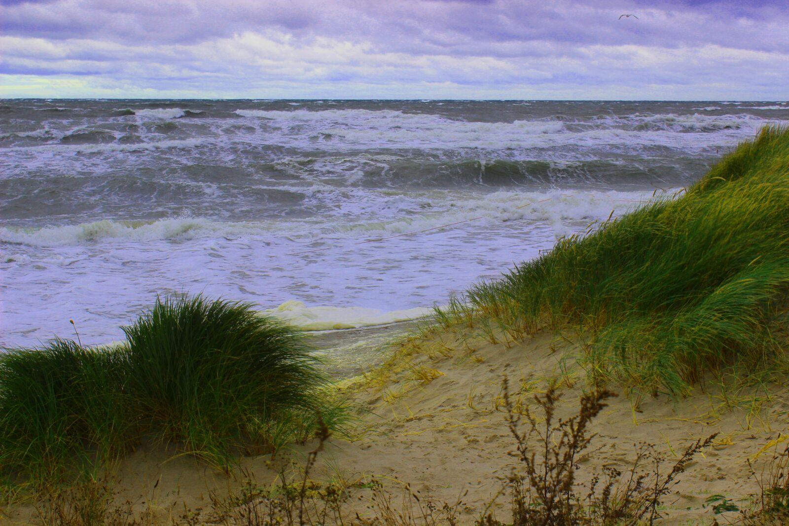 "Canon EOS 600D (Rebel EOS T3i / EOS Kiss X5) sample photo. ""Marram grass, sea, wave"" photography"