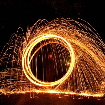 wire wool, fire ball, Canon EOS 1100D