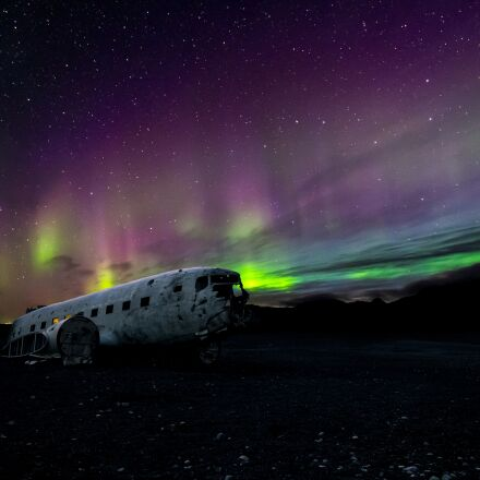 aircraft, airplane, aurora borealis, Fujifilm X-T1