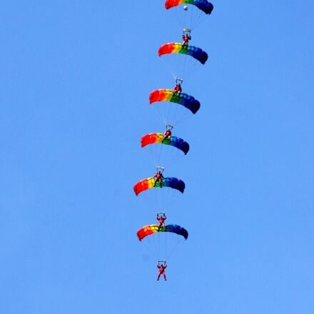 parachutists, sports, group jump, Sony SLT-A77