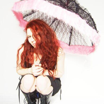 gothic, parasol, red head, Fujifilm FinePix F30