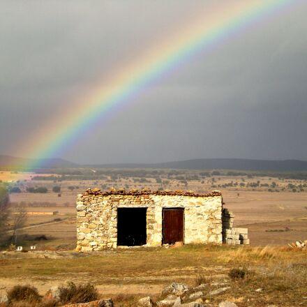 rainbow, spain, ruin, Nikon COOLPIX S210