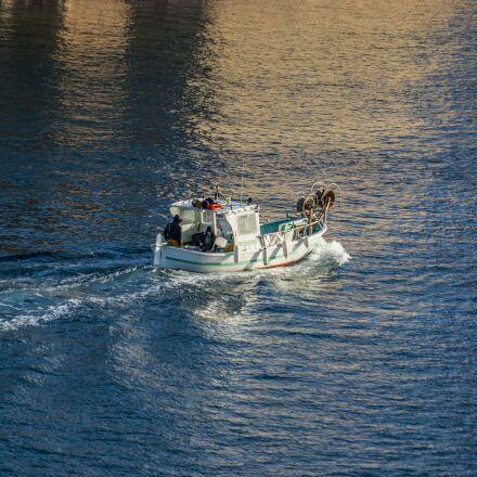 boat, barque, fisherman, Pentax K10D