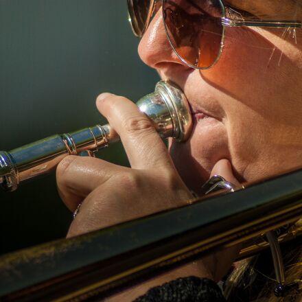 musician, musical instrument, trombone, Pentax K10D
