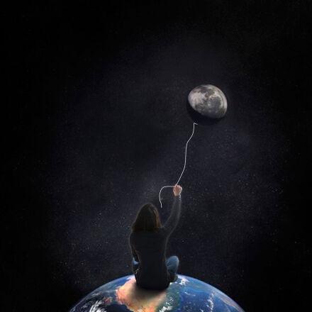 balloon, earth, moon, night, Canon EOS 7D