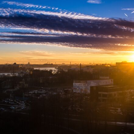 sunset, clouds, panorama, Sony SLT-A77