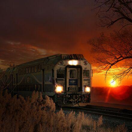 train, sun, warm colors, Panasonic DMC-ZS7