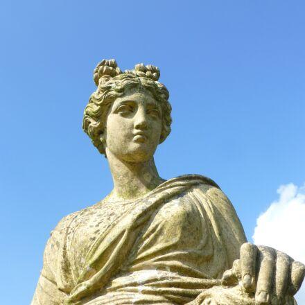 statue, blue sky, garden, Panasonic DMC-TZ30