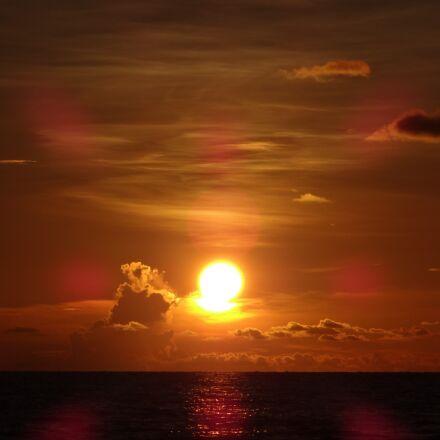 sunset, sun, beach, Sony DSC-WX150
