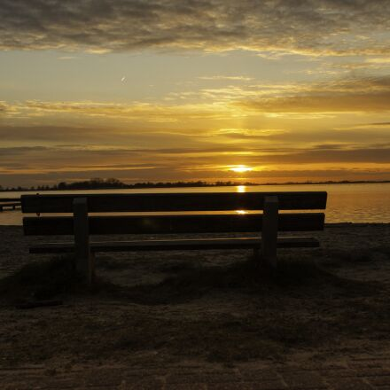 sunset, bench, nature, Canon EOS 40D