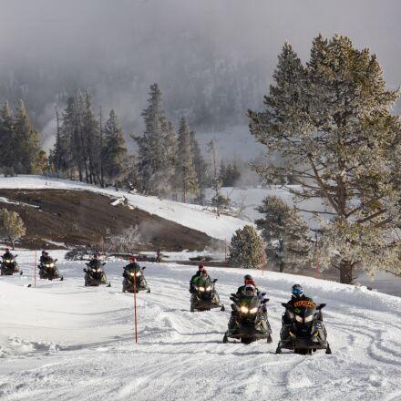 snowmobiles, snow, path, Canon EOS 5D MARK III