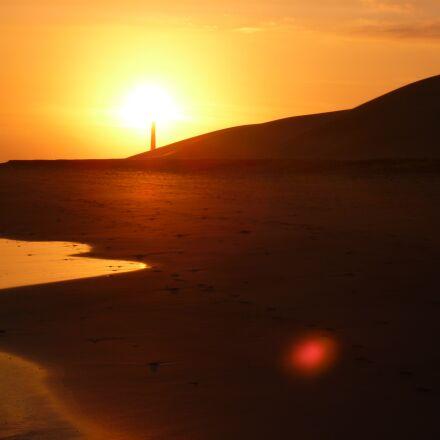 sunset, beach, lighthouse, Panasonic DMC-FS10