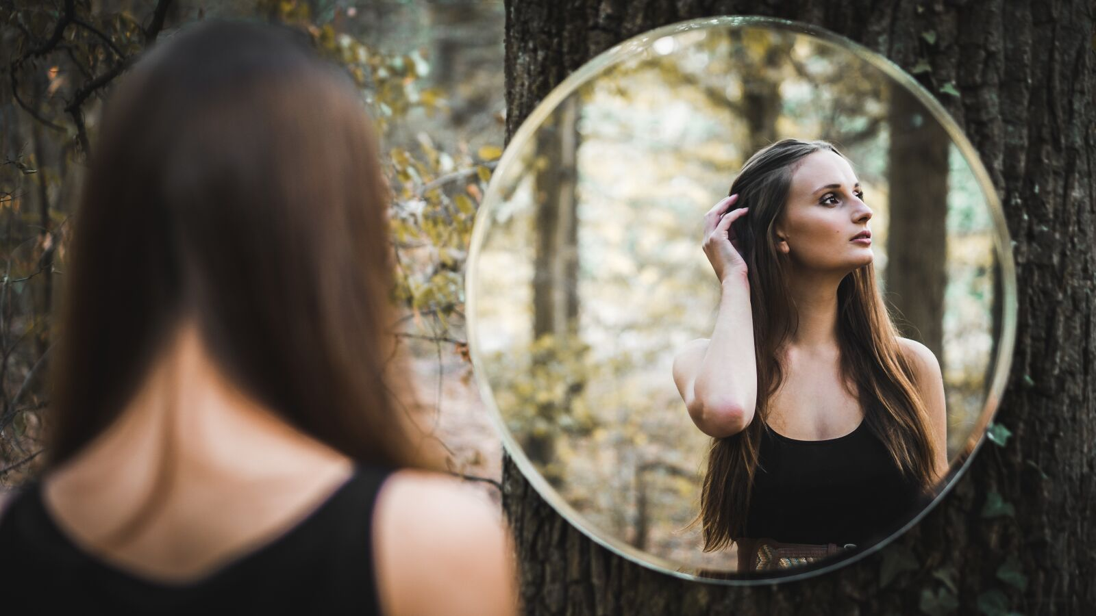 """Sony a6300 sample photo. """"Mirror, girl, forest"""" photography"""