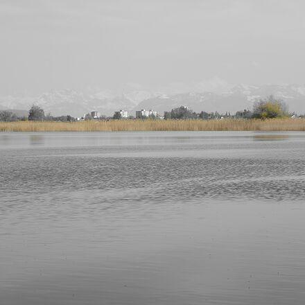lake, sky, mountains, Nikon 1 S1