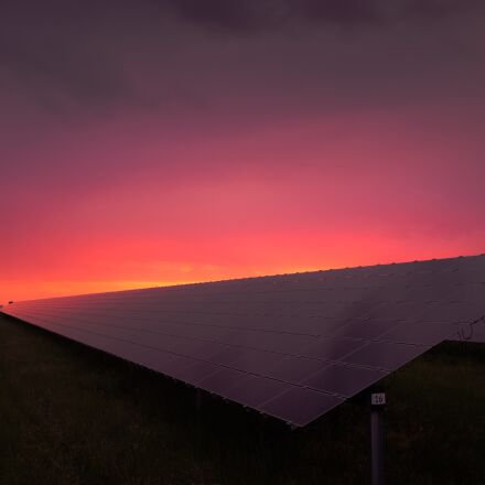 grass, sky, solar panels, RICOH PENTAX K-S2