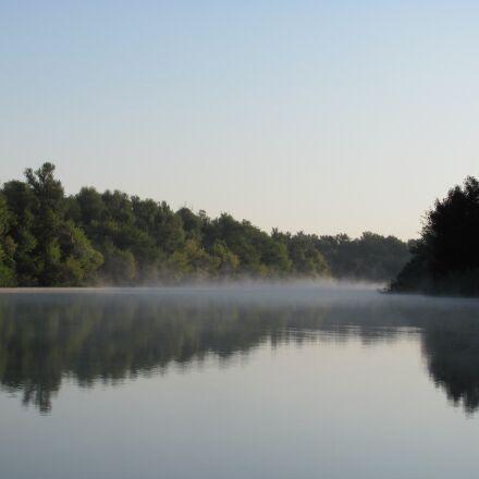 fog, dawn, tranquility, Canon POWERSHOT SX120 IS