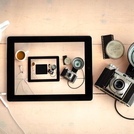 wood, coffee, camera, desk, Nikon D7000