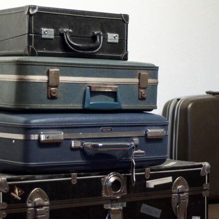 blue, brown, suitcase, travel, Nikon D90