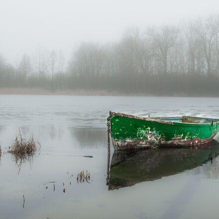 lake, boat, winter, Pentax K200D