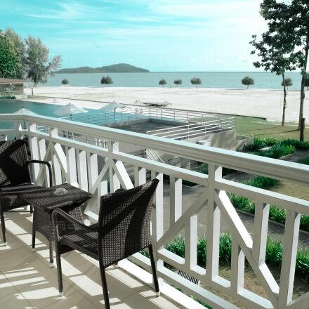 balcony, beach, chairs, empty, Samsung NX1