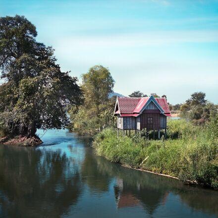 laos, house, river, Panasonic DMC-GF2