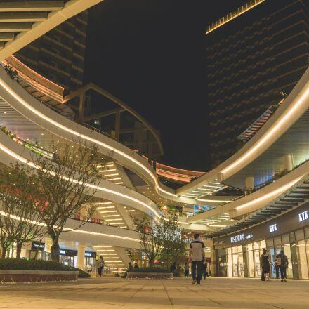 night, shopping mall, light, Sony ILCE-6300