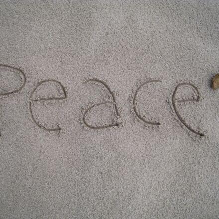 peace, beach, sand, Canon DIGITAL IXUS 960 IS