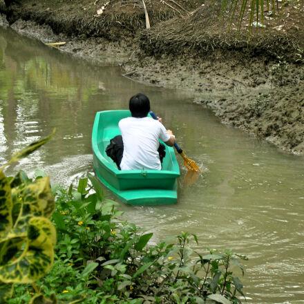 boat, canal, man, nature, Nikon COOLPIX S3