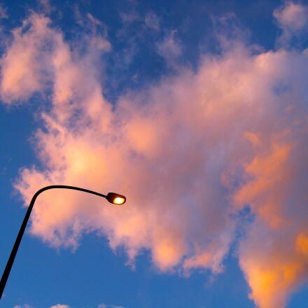 blue sky, evening, cloud, Canon IXY DIGITAL 910 IS
