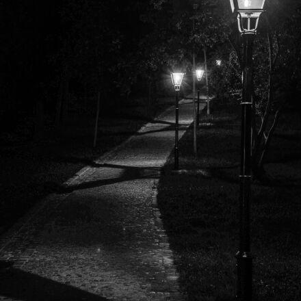 path, lights, black and, Nikon D600