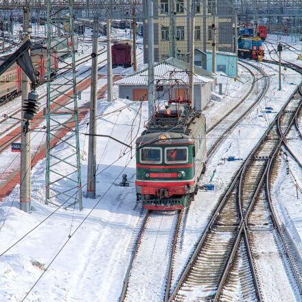 train, winter, road, Pentax K-500