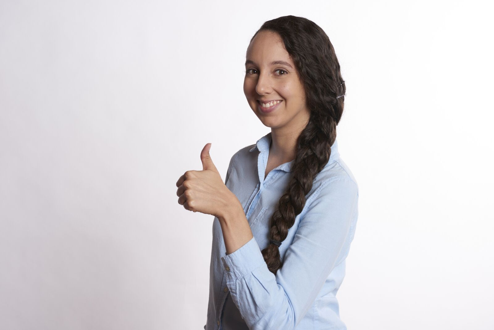woman, thumbs up, smiling photography