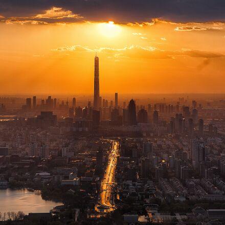 tianjin, twilight, city, RICOH PENTAX K-1