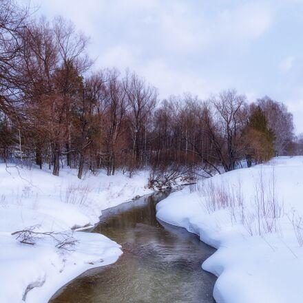 spring, river, sky, Pentax K-500