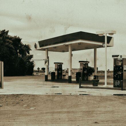 petrol stations, desert, abandoned, Nikon 1 J1
