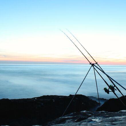 fishing, rods, sea, Canon EOS 1100D