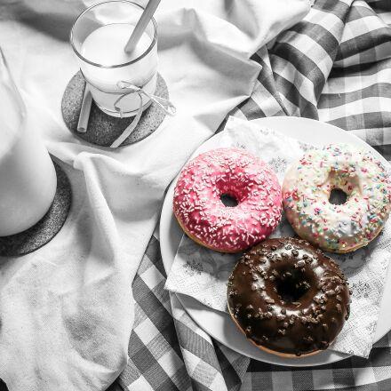food, donuts, milk, Canon EOS 5D MARK III