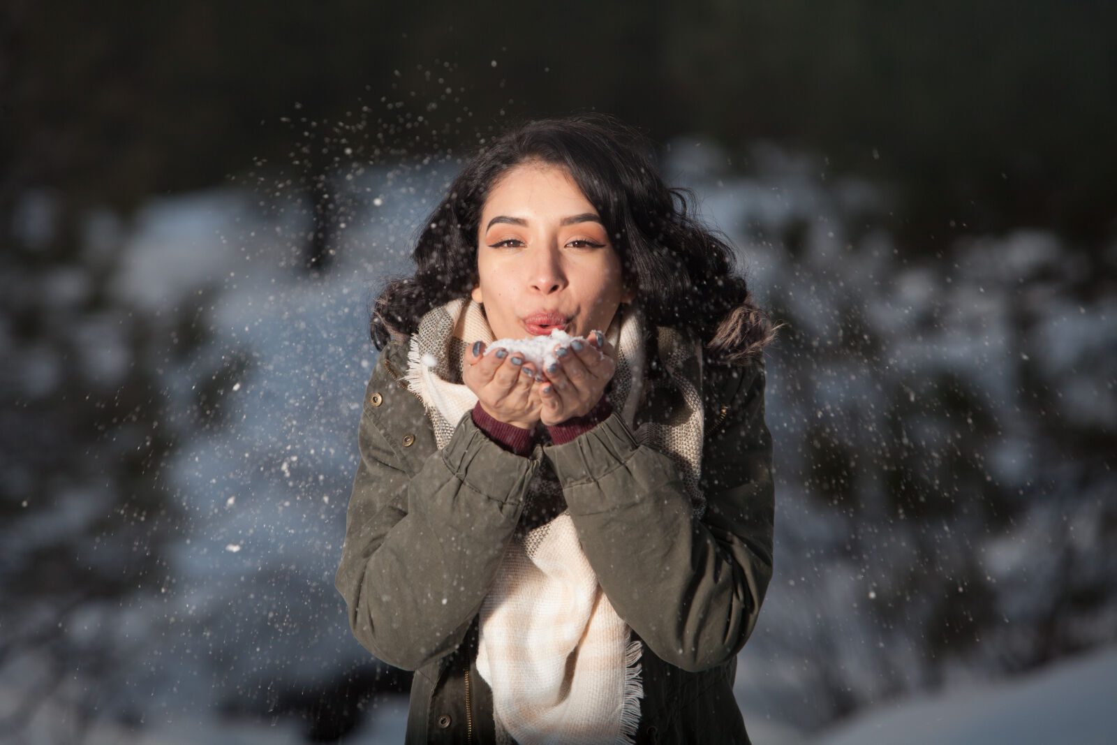 beautiful, blowing, brunette, cold