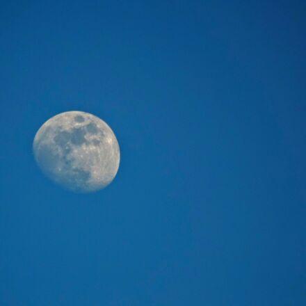 blue, moon, sky, Nikon D3200