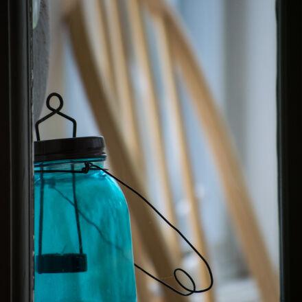 beach, blue, glass, jar, Nikon D3300