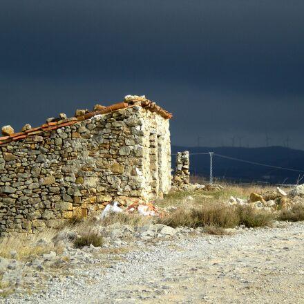 windmill, sky, landscape, Nikon COOLPIX S210