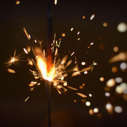 sparks, of, firecracker, Nikon D5200