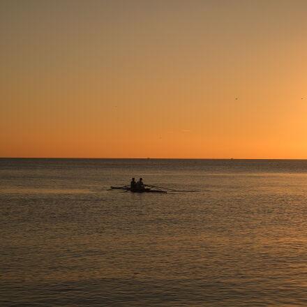 sea, sunset, sun, boat, Samsung NX3000