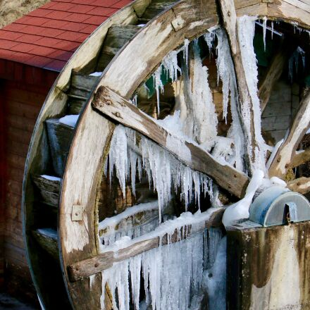 mill, waterwheel, icicle, Canon EOS 70D