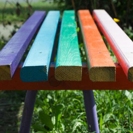 bench, blue, close, up, Canon EOS 550D